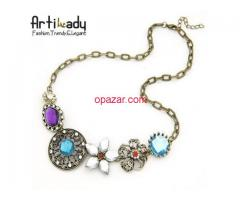 Artilady lovely multi color crystal necklace gold engagement jewelry necklace